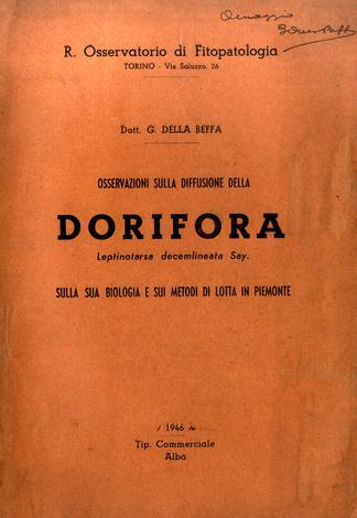 Osservazioni sulla diffusione della dorifora...sulla sua biologia e sui metodi di lotta in Piemonte