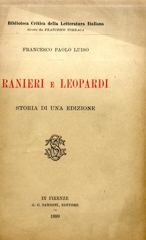Ranieri e Leopardi storia di una edizione