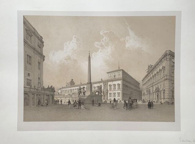 <strong>Piazza di Monte Cavallo e palazzo pontificio del Quirinale.</strong>
