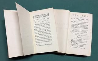 <strong>Lettres sur les Spectacles; avec une histoire (bibliographique) des ouvrages pour et contre les Théâtres.</strong>