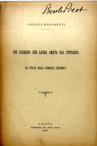Può credersi che Laura amata dal Petrarca sia stata della famiglia Colonna?