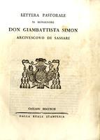 Lettera Pastorale di Monsignor Don Giambattista Simon arcivescovo di Sassari
