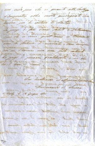 <strong>Lettera autografa firmata a &quot;Signora Marchesa&quot;</strong>
