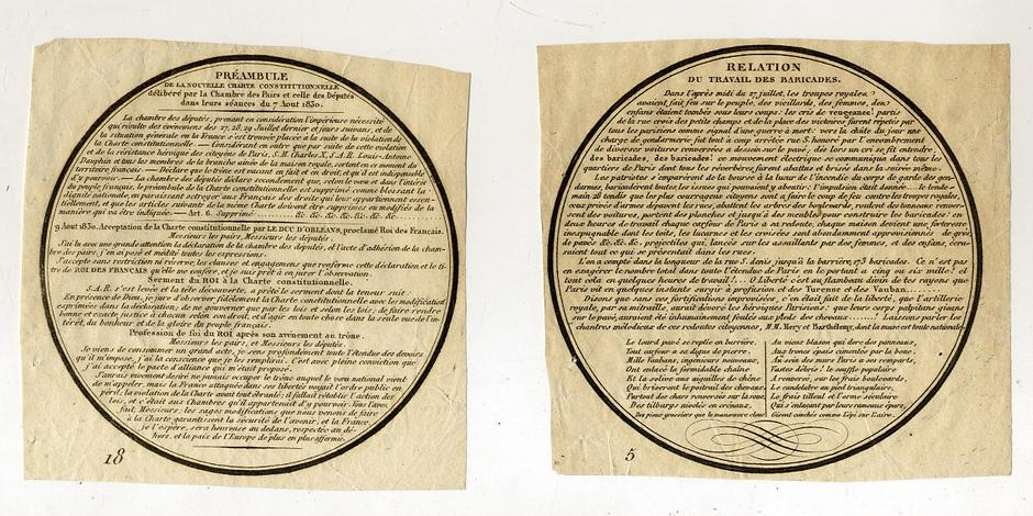 Relation du travail des barricade. - Preambule de la nuvelle Charte Constituzionnel.
