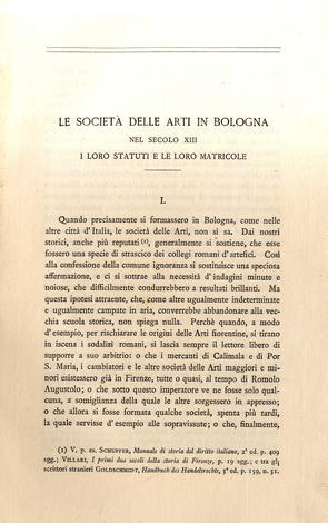 Le società delle arti in Bologna nel secolo XIII i loro statuti e le loro matricole
