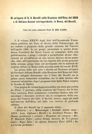 Di un'opera di G.A. Borelli sulla eruzione dell'Etna del 1669 e di Adriano Auzot corrispondente in Roma del Borelli