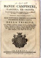 Bandi campestri, capitoli e ordini sopra la conservazione della campagna...e territorio di Arignano