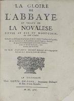<strong>La Gloire de l'abbaye et vallée de la Novalese, située au bas du Montcenis du coté d'Italie.</strong>