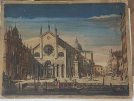 The place and church of St. John an St. Paul with the school of St Mark on the left hand, & the equestrian statue of general Bartolomeo Coleone in the front