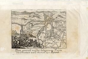 <strong>Plan generall von der belagerung Turin die Entsetzet ward ao 1706 t septemb.</strong>