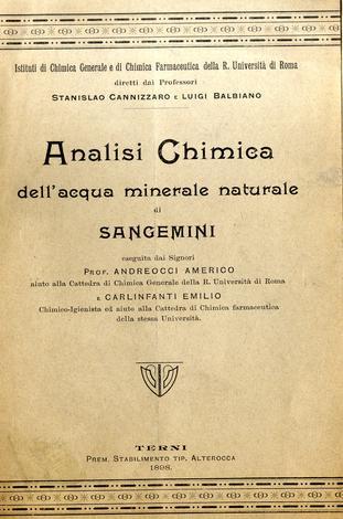 Analisi chimica dell'acqua minerale naturale di Sangemini