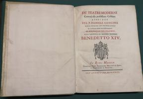 <strong>De' Teatri Moderni contrari alla professione cristiana, libri due.</strong>
