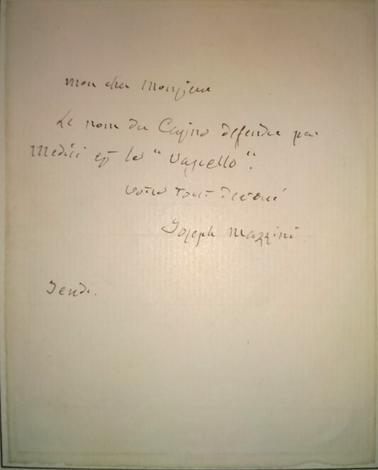 Lettera autografa in francese a ''Mon cher Monsieur'',