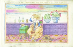 Album di 22 miniature su pergamena di maschere e scene della Commedia dell'Arte e di costumi veneti e romani.