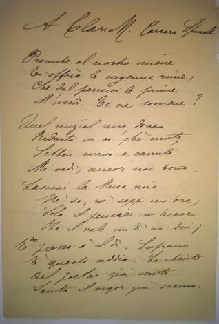 Versi inediti dedicati a Clara Carrara Spinelli.