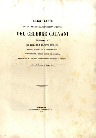 Ragguaglio di un'altro manifesto inedito del celebre Galvani.