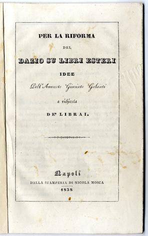 Per la riforma del dazio su libri esteri. Idee a richiesta de' librai.