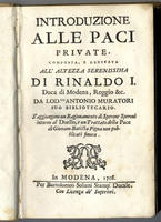 <strong>Introduzione alle paci private. </strong>S'aggiungono un Ragionamento di Sperone Speroni intorno al Duello, e un Trattato della Pace di Giovam.Batista Pigna non pubblicati finora.