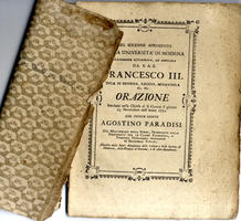 NEL SOLENNE APRIMENTO DELLA UNIVERSITA' DI MODENA …Orazione recitata dal Sig. Agostino Paradisi