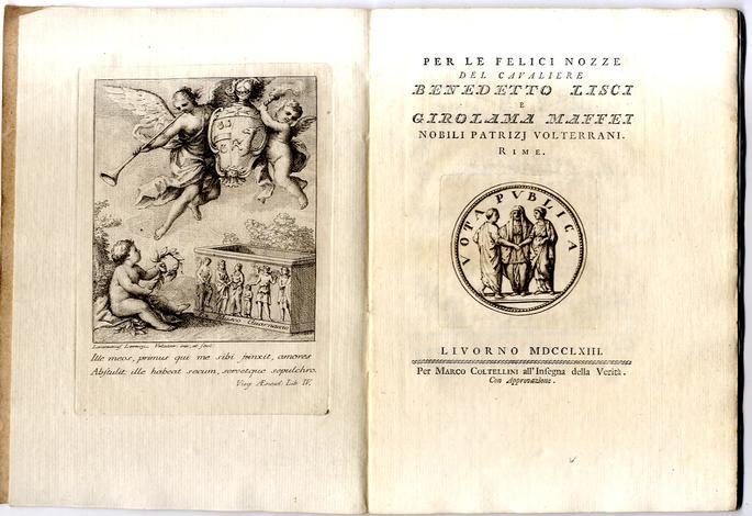 <strong>Per le felici nozze del Cavaliere Benedetto Lisci</strong> e Girolama Maffei nobili patrizi volterrani.