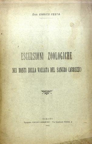 Escursioni zoologiche nei monti della vallata del Sangro (Abruzzi)