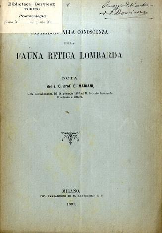 Contibuto alla conoscenza della fauna retica lombarda