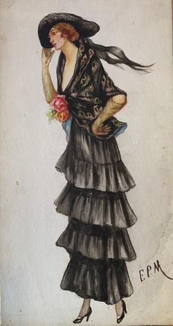 Acquerello originale su cartoncino inizi '900 firmato E.P.M.