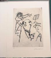 """<strong>Cartella stampata a corredo del vol. """"Un concerto per 120 professori"""", contiene 5 acquefortifirmate e num. a lapis da Mino Maccari.</strong>"""