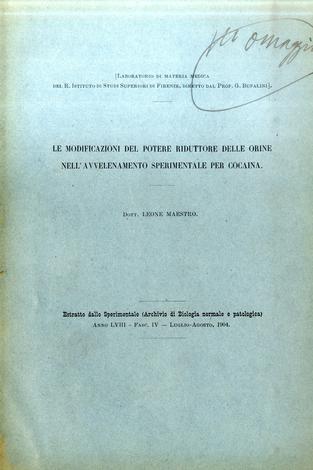 Le modificazioni del potere riduttore delle orine nell'avvelenamento sperimentale per cocaina