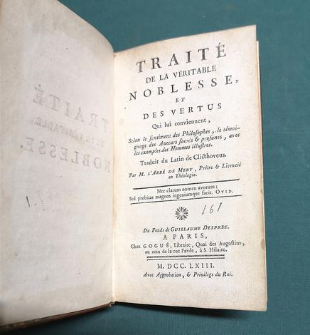 <strong>Traité de la véritable noblesse et des vertus qui lui conviennent.</strong> Traduit du latin de Clicthoveus par M. l'abbé de Mery...