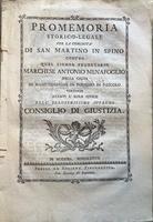 <strong>Promemoria storico-legale per la comunità di San Martino in Spino contro quel signor feudatario Marchese Antonio Menafoglio</strong>