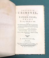 <strong>L'honnête Criminel, drame en Cinq Actes et en vers.</strong>Seconde édition, revue, corrigée & augmentée de l'Histoire du Héros de la Pièce.