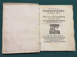 <strong>Della ragion poetica libri due e Della tragedia libro uno.</strong>