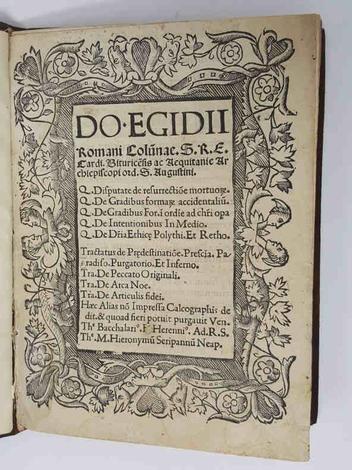 <strong>Do Egidii Romani Columnae...De Resurrectiones Mortorum</strong>