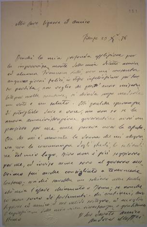 Lettera autografa indirizzata a ''Mio caro Signore ed amico''.