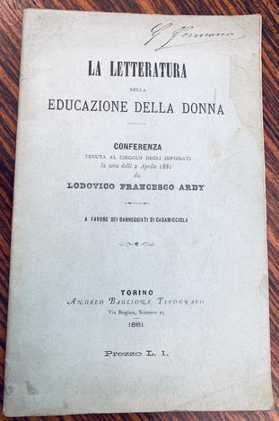 <strong>La letteratura nella educazione della donna.</strong>
