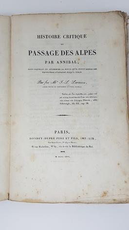 Histoire critique du passage des Alpes par Annibal,